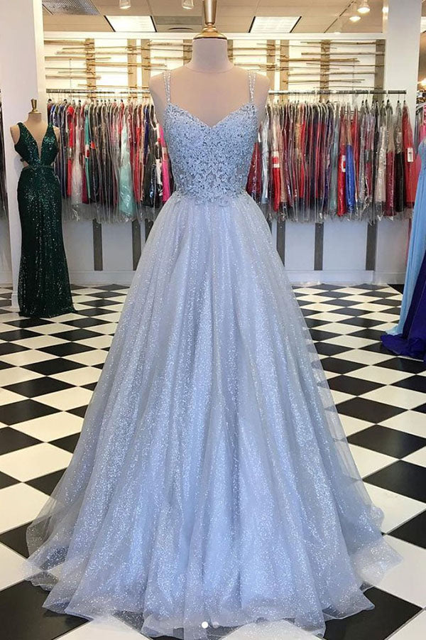 Elegant Light Blue Tulle V-neck Spaghetti Straps Lace Long Prom Dresses, SP629