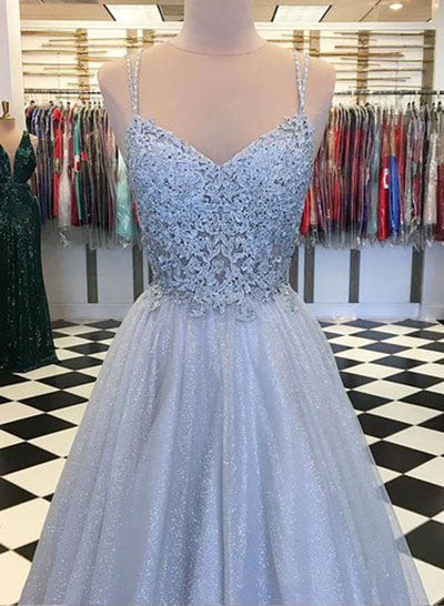 Find Elegant Light Blue Tulle V-neck Spaghetti Straps Lace Long Prom Dresses, SP629 at www.simidress.com