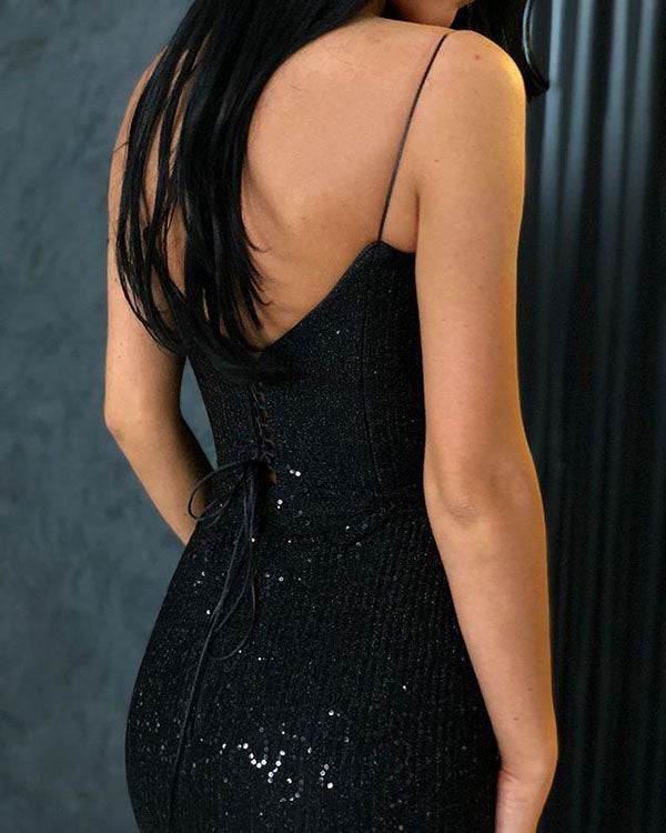 Sparkle Black Mermaid V-neck Spaghetti Strapes Sequins Long Prom Dresses, SP630 from www.simidress.com