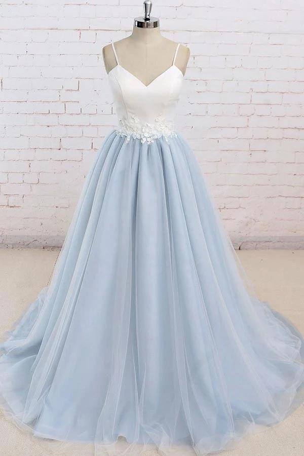 Light Blue Tulle Simple Spaghetti Straps Sweep Train Backless Prom Dress, SP631