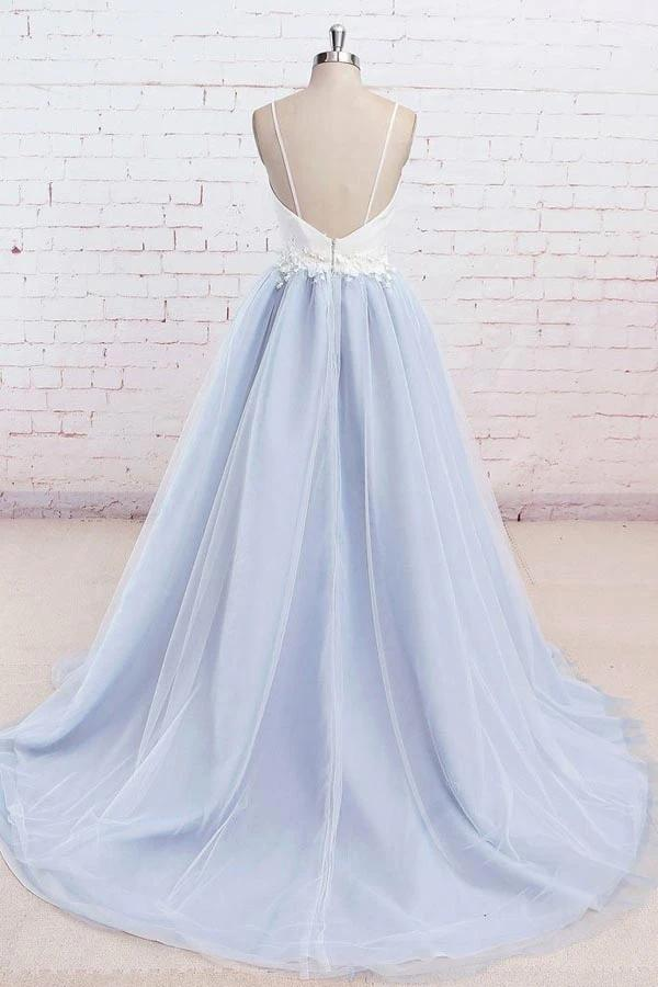 www.simidress.com supply Light Blue Tulle Simple Spaghetti Straps Sweep Train Backless Prom Dress, SP631