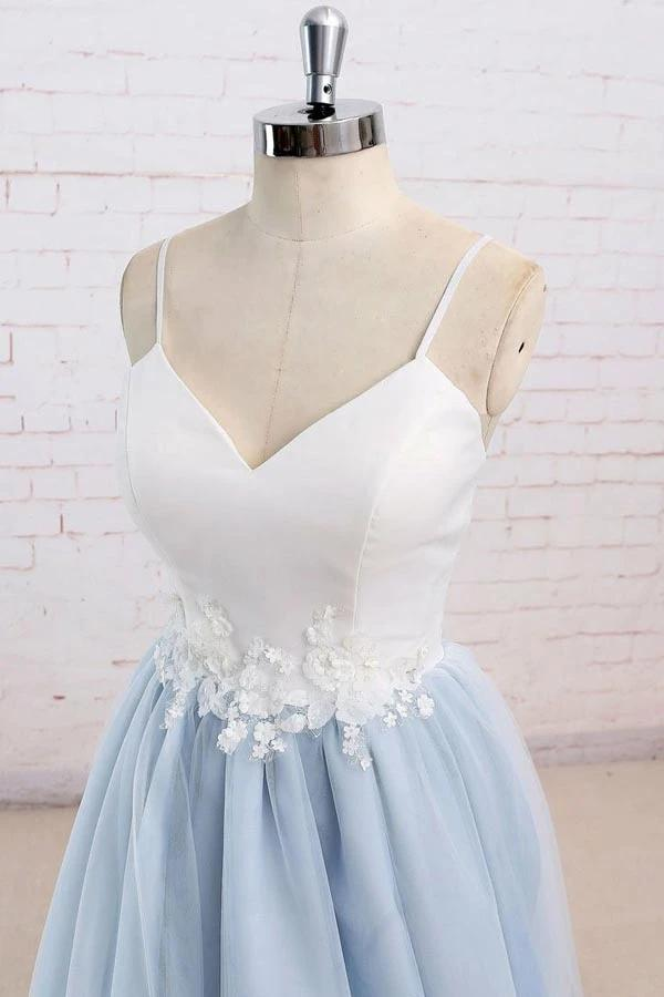 Find Light Blue Tulle Simple Spaghetti Straps Sweep Train Backless Prom Dress, SP631 at www.simidress.com