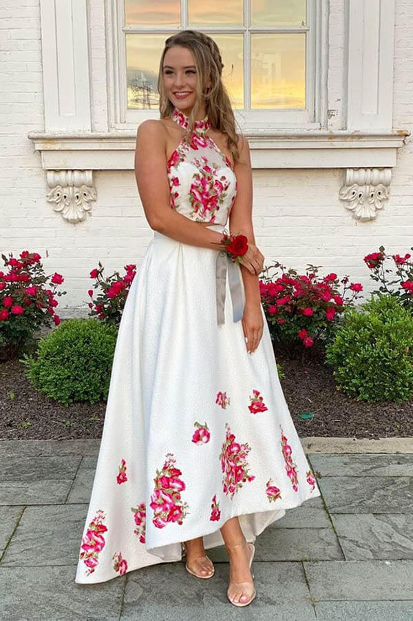 Colorful Embroider High Low Halter Two Pieces Long Prom Dress, SP647 | prom dresses | formal dresses | evening dresses | long prom dresses | floral prom dresses | cheap prom dresses | red prom dresses | high low prom dresses | party dresses | Simidress.com