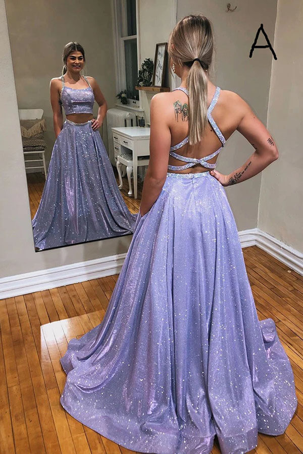 Sparkly A-line Two Piece Crossed Back Straps Long Prom Dress, SP648 | sparkly prom dresses | simple prom dresses | prom dresses | cheap prom dresses | two piece prom dresses | A-line prom dresses | prom dresses online | evening dresses | formal dresses | Simidress