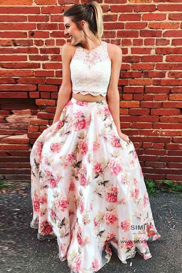 Two Piece Lace Round Neck Floral Print A-line Long Prom Dresses, SP649 | two piece prom dresses | floral prom dresses | evening dresses | party dresses | formal dresses | long prom dresses | prom dresses online | Simidress
