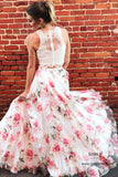 Affordable Two Piece Lace Round Neck Floral Print A-line Long Prom Dresses, SP649 | two piece prom dresses | floral prom dresses | evening dresses | party dresses | formal dresses | long prom dresses | prom dresses online | Simidress