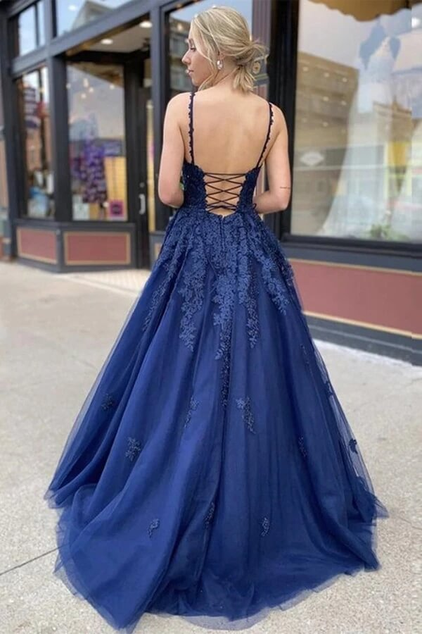 Navy Blue Tulle A-Line V-neck Lace Long Prom Dresses, Evening Dress, SP664 | cheap prom dresses | evening dresses | formal dresses | long prom dresses | prom gowns | Simidress.com