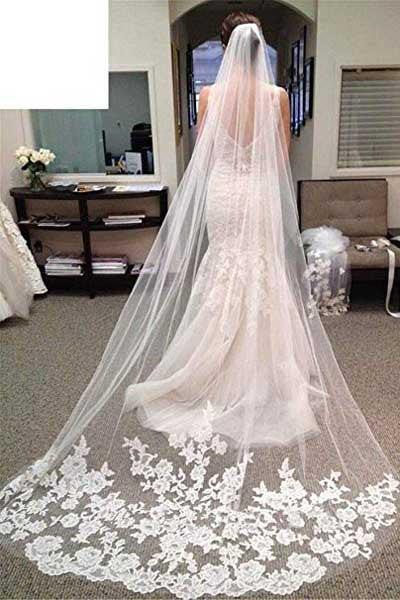 Cheap Lace Ivory Edge Chapel Length Wedding Veils, Bridal Veil, SV008