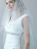 Simple White Beaded Two Layers Wedding Veils with Blusher Fingertip, SV011|simidress.com