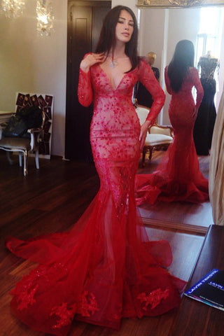 Fabulous Red Long Sleeves V-neck Mermaid Prom Dress with Appliques Beading,SVD330