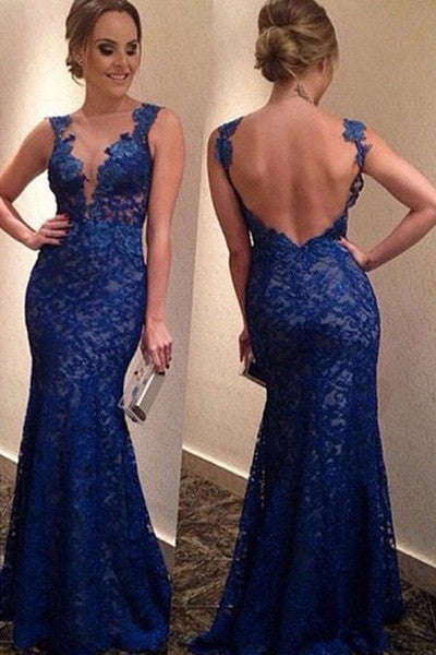 Decent Mermaid Royal Blue Long Prom Dress Evening Dress With Lace Appliques,SVD337