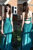 Long Prom Dress Blue Ruffles Backless Prom Dress Evening Gowns, SIMI37