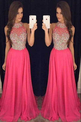 2017 Hot Pink Halter Evening Prom Dresses With Beading,Cheap Party Prom Dress,SVD354