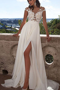 Long White Lace A Line Prom Dress With Appliques,Sexy Wedding Dress,SVD356