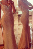 Long Gold Sequin Mermaid Prom Dresses,Prom Dresses 2017,Long Evening Dresses,SVD357