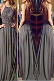 Long Cheap Gray Chiffon Prom Dresses, Popular Evening Prom Dresses,SVD358
