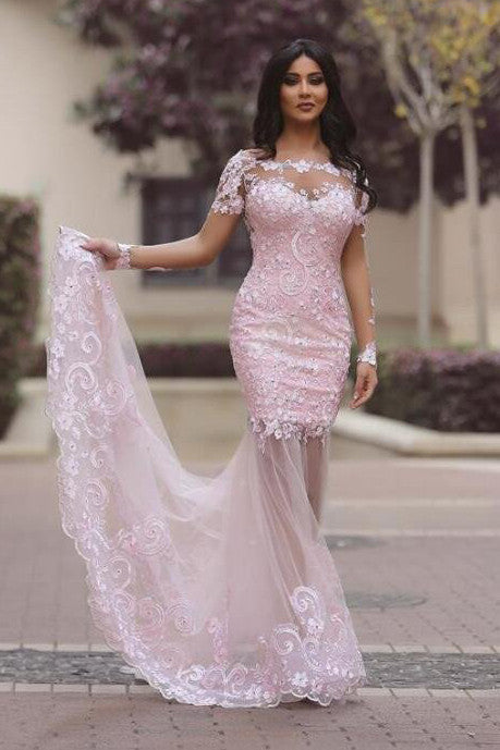 Pink Lace Mermaid Long Sleeve Sexy See Through Prom Dress,Cheap Prom Dresses,SVD362