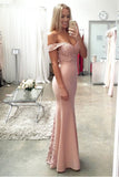 simidress Blush Pink Off Shoulder Mermaid Evening Prom Dresses,Long Lace Party Prom Dress,SVD365