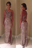 Glittering 1 Shoulder Prom Dresses,Sequin Prom Dresses,Party Prom Dresses,SVD368