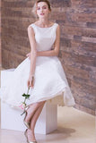 White Lace Wedding Party Dresses,Short Sleeveless Scoop Neck Prom Dresses,SVD370