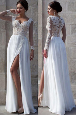 Elegant Prom Dresses,White Side Slit Prom Dresses,Cheap Wedding Dresses,SVD371
