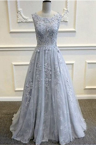 Gray V-Back Tulle Prom Dresses With Lace Appliques,Party Prom Dress,Evening Dresses,SVD372 simidress