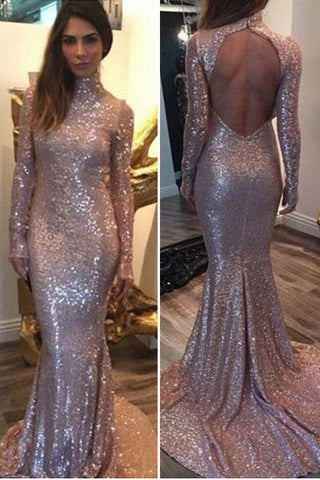 Sequined Long Sleeves Prom Dresses,High Neck Prom Dresses,Backless Prom Dresses,SVD382