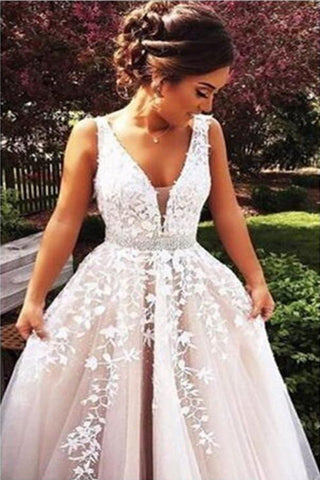 ea008944afc5 A line Off Shoulder Lace Prom Dress