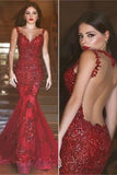 Decent Red Backless Mermaid Prom Dresses,Long Prom Dresses,Party Prom Dresses,SVD389