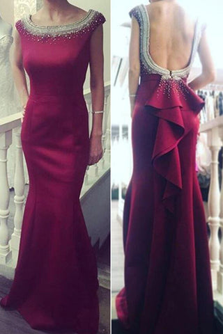 New Arrival Red Round Neckline Mermaid Evening Prom Dresses with Beading,SVD390