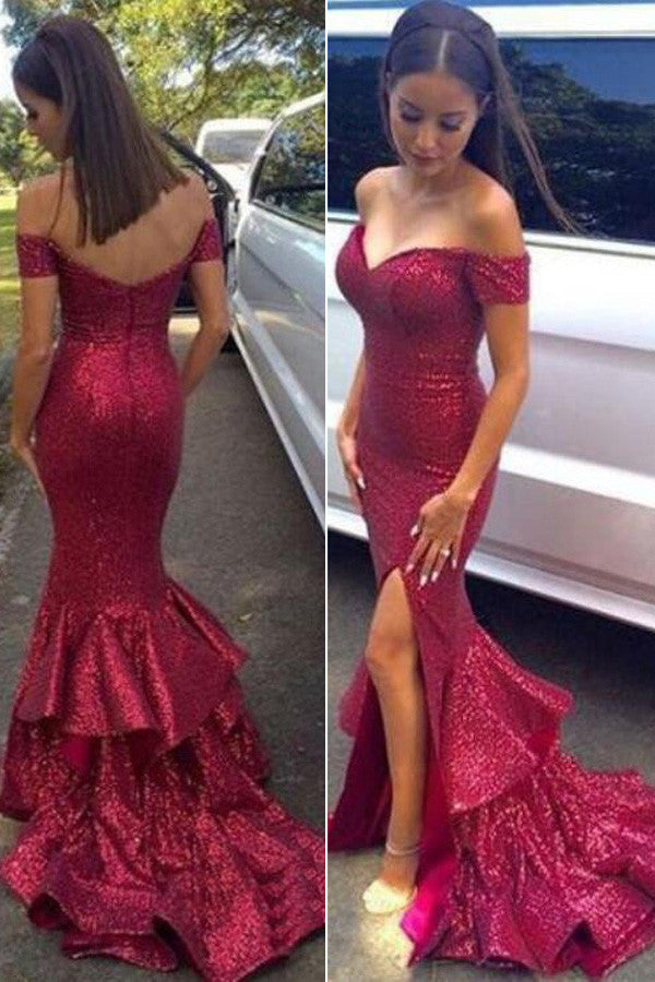 Glittering Sexy Off Shoulder Red Sequined Mermaid Prom Dresses,Red Evening Dresses,SVD395