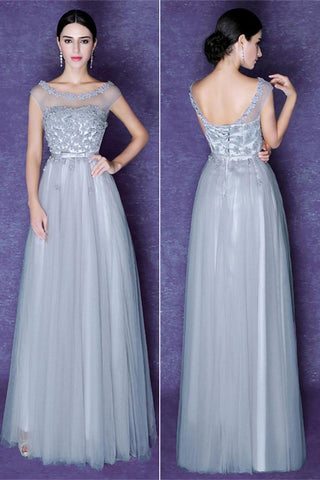 Gray Tulle Scoop Prom Dresses,Beautiful Bridesmaid Dresses,Cocktail Prom Dresses,SP400