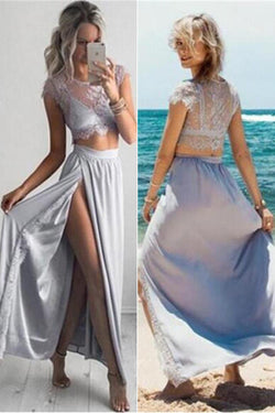 2 Pieces Side Slit Prom Dresses,Cap Sleeves Prom Dresses,Beach Party Dresses,SVD401