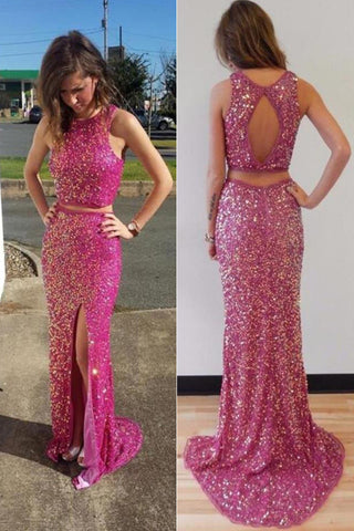 Glittering 2 Pieces Backless Side Slit Prom Dresses,Party Dresses,Cocktail Prom Dresses,SVD402