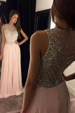 Sexy Pink Sweep Train Scoop Chiffon Sleeveless Long Prom Dress With Crystals,SVD405