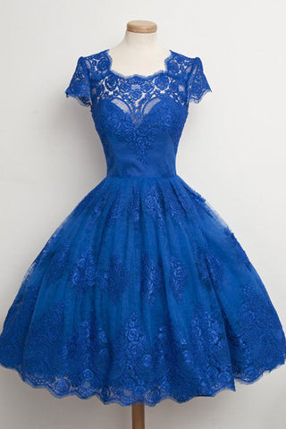 Luxurious Royal Blue Homecoming Dress,Scalloped-Edge Ball Knee-Length Dress,SVD412