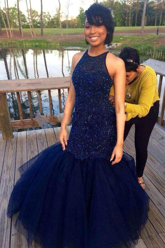 Mermaid Prom Dresses,Sleeveless Navy Scoop Prom Dresses with Beadings,SVD416