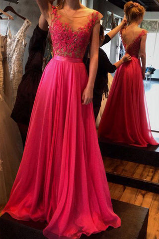 Gorgeous Long Chiffon Prom Dresses,Cap Sleeves Prom Party Dresses with Lace,SVD418