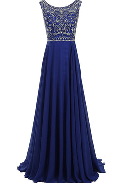 Royal Blue Beaded Prom Dresses,Decent Scoop A-line Sleeveless Prom Dress,SVD420