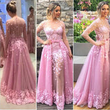 Charming Lavender Floral Long Sleeves Prom Dress,Party Prom Dresses With Appliques,SVD422