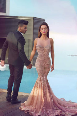 Charming Blush Pink Mermaid Prom Dress,Prom Dress with Appliques Beading,SVD423