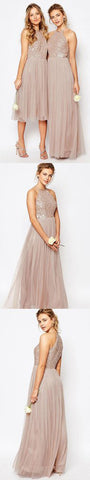Gorgeous Glittering Top Tulle Halter  Romantic Short Long Wedding Party Bridesmaid Dresses,SVD466