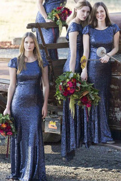 Royal Blue Round Neck Cap Sleeve Sequin Mermaid Long Bridesmaid Dresses,SVD467