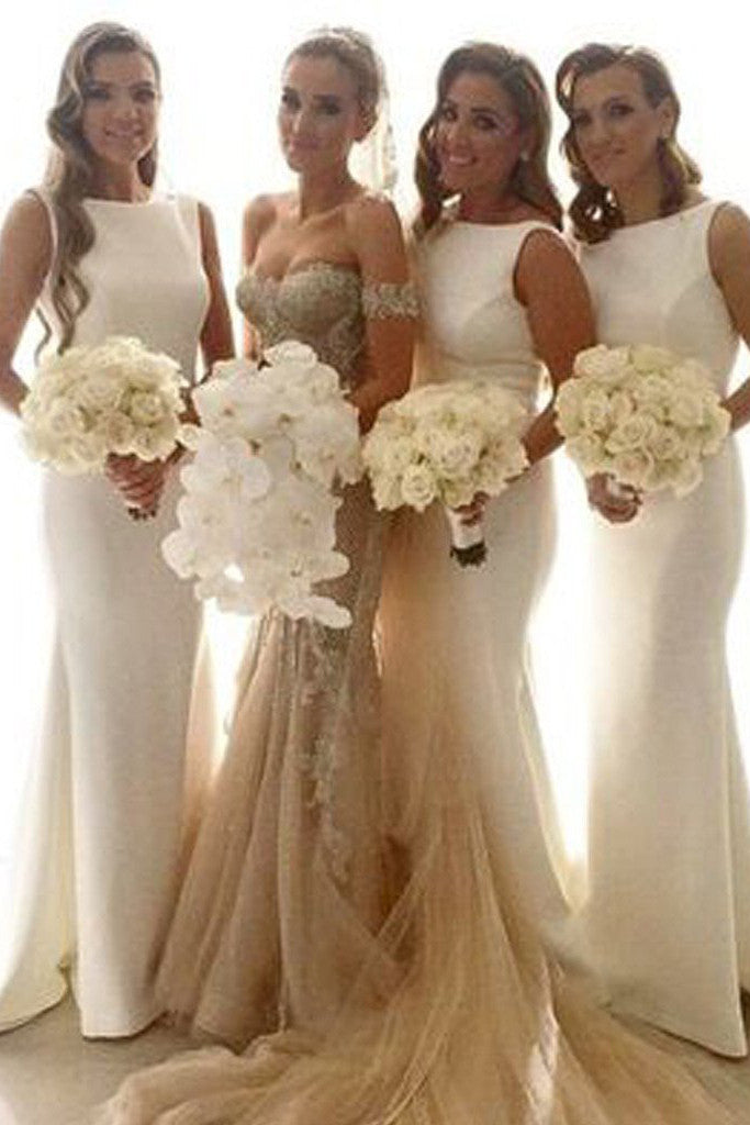 Fabulous White Simple Mermaid Women Long Wedding Party Bridesmaid Dresses,SVD468