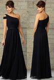 Elegant Navy Blue One Shoulder Chiffon Cheap Formal Floor-Length Bridesmaid Dresses,SVD469