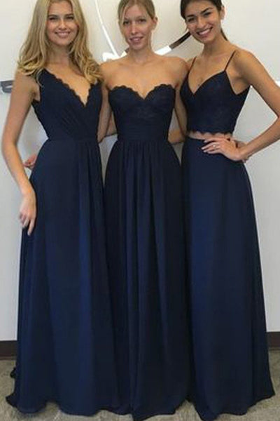 Navy Blue A Line Floor-Length Cheap Bridesmaid Dresses,New Arrival Decent Lace Chiffon Dress,SVD470