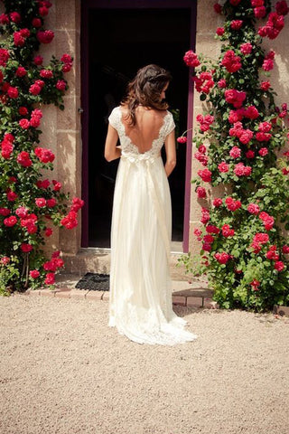 Elegant Simple Cap Sleeve A Line V Back Cheap Long Lace Wedding Party Dresses,SVD526