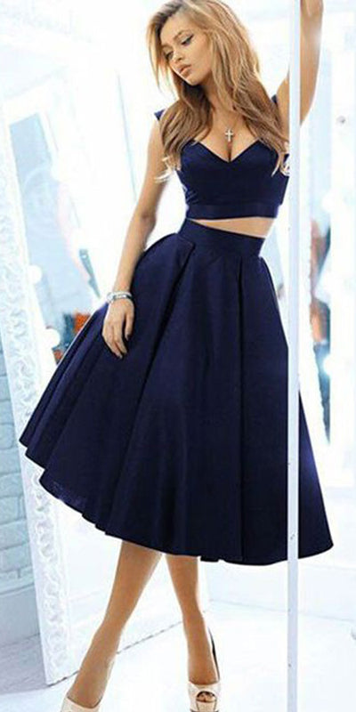 simidress.com | Elegant Two Pieces Off Shoulder Dark Navy Short Homecoming Party Dresses,SVD568