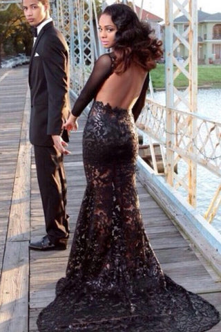 Long Black prom Dresses,BlackProm Dress,See Through Prom Dress,Evening dress SVD302