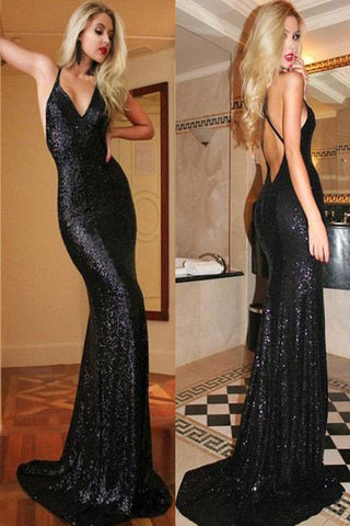 Mermaid Black Sequin Prom Dress,Glittering Backless Party Prom Dress, SVD311